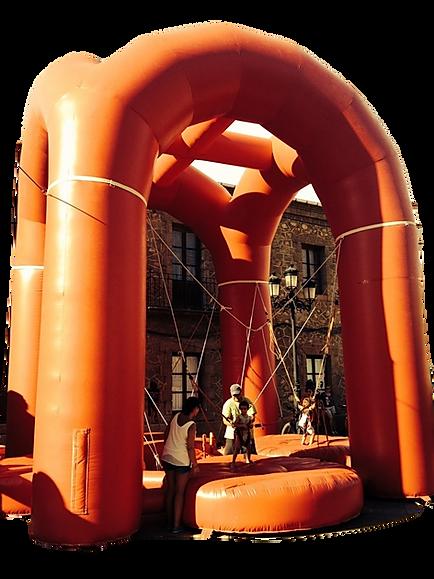 Alquiler de Jumping tirachinas con cuatro camas hinchable en Albacete y Cuenca