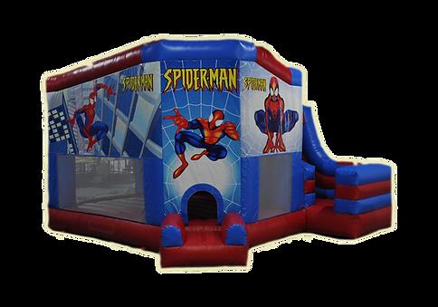 Castillo hinchable Spiderman con tobogán mediano alquiler en Albacete y Cuenca