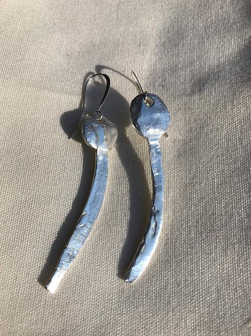 Silver artisan earring