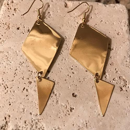 Golden triangular earrings