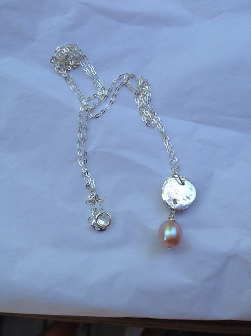 Silver and pink pearl necklace