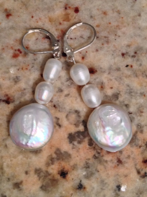 Coin and freshwater pearl earring