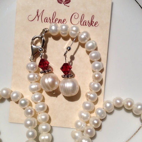 Pearl with red crystal earring and necklace
