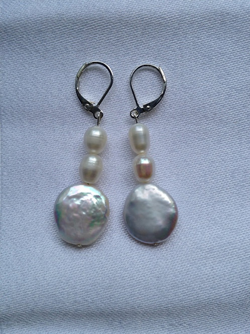 Coin pearl and freshwater pearl earring
