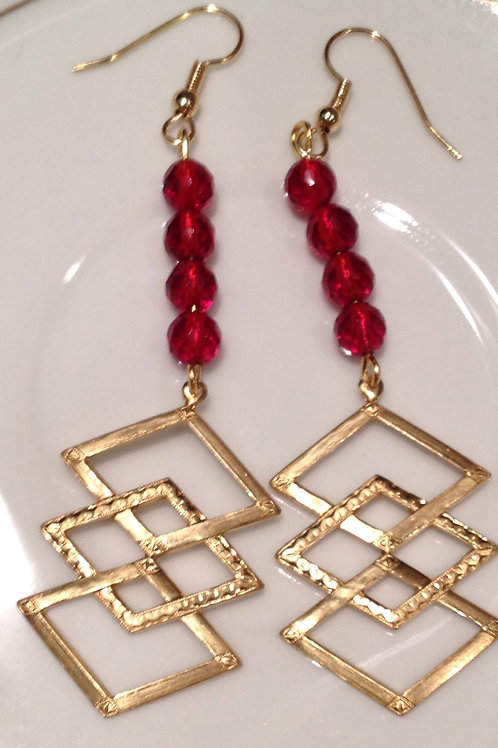 Bronze geometric earring with red crystals