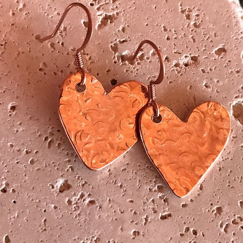 Copper heart hammered