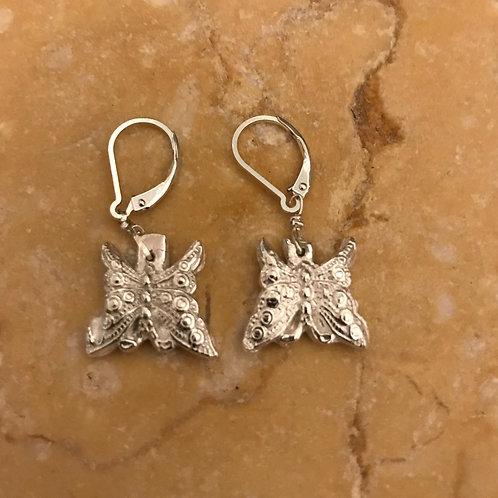 Pure silver butterfly earrings