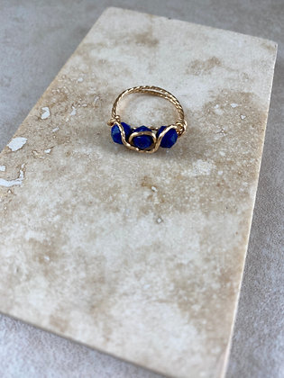 Lapis Triple Infinity Ring
