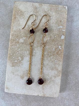 Red Garnet Drop Earrings