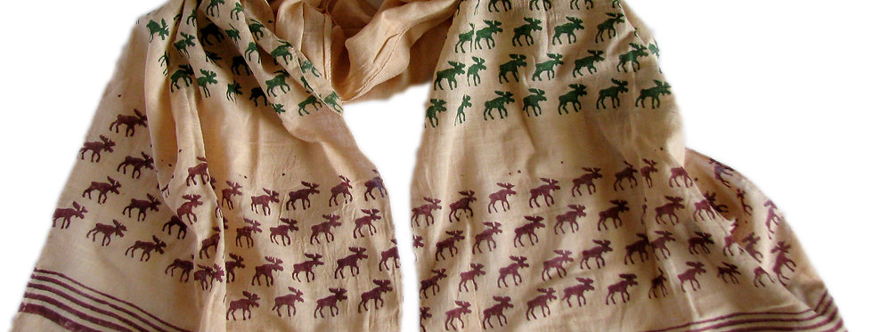 Moose Scarf Cream with Red and Green Print