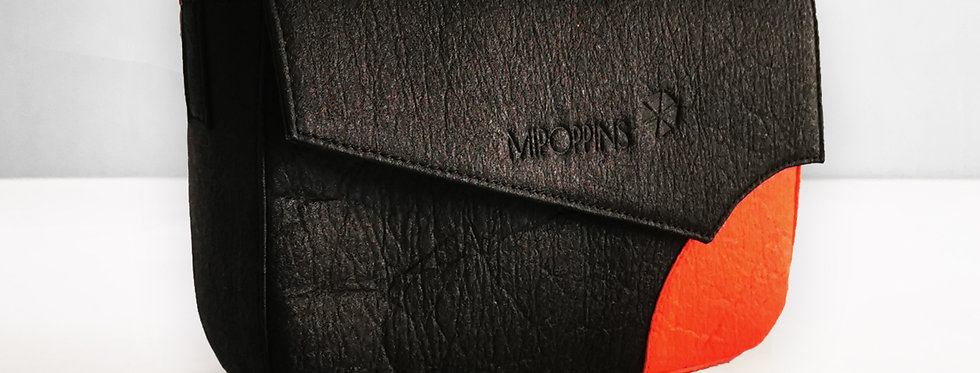 Bolso de hombro Piñatex Negro-Rojo