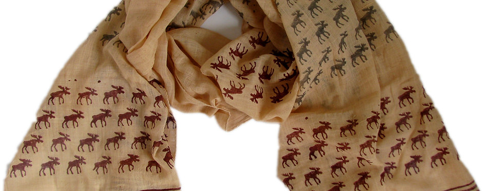 Moose Scarf Cream with Red and Grey Print