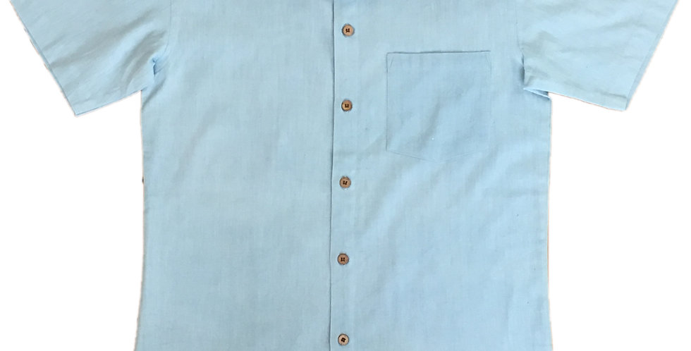 Organic Light-Blue Short-Sleeved Shirt