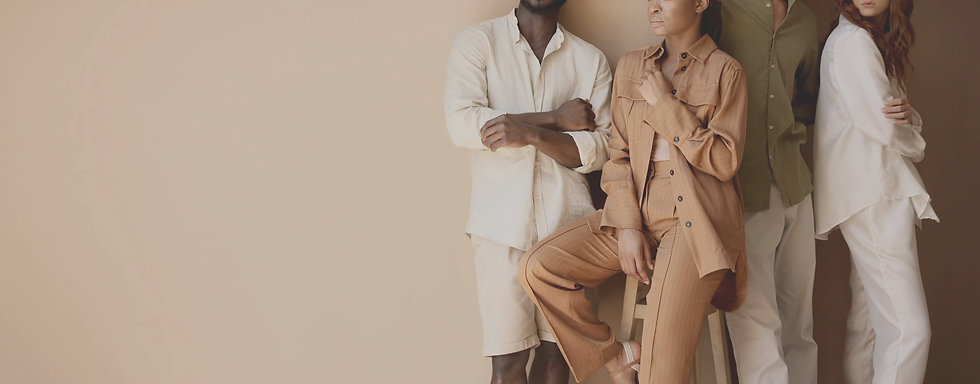 Men and women wearing sustainable brands clothing