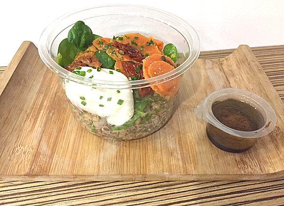 Salade de lentilles et oeuf poché