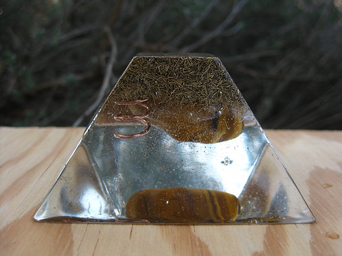 Tiger Eye/Blue Tiger Eye Orgonite Ziggurat Pyramid