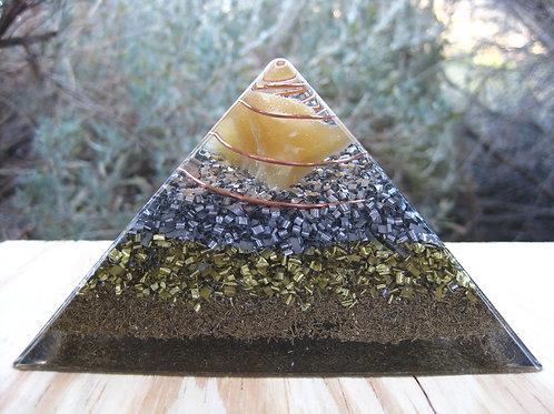 Large Orange Calcite Orgonite Pyramid