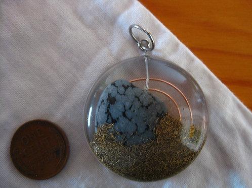 Snowflake Obsidian Round Orgonite Pendant
