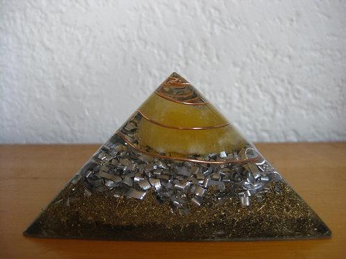 Small Orange Calcite Orgonite Pyramid