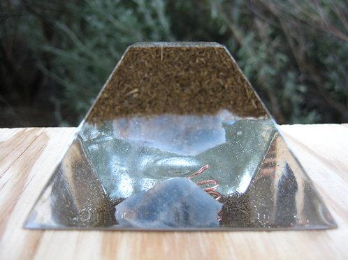 Blue Calcite Orgonite Ziggurat Pyramid