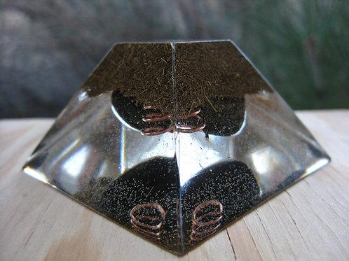 Obsidian Orgonite Ziggurat Pyramid