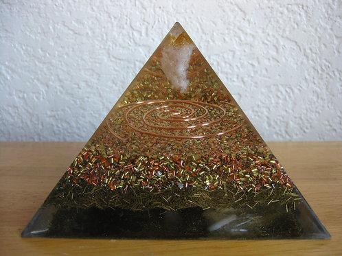 "Large Citrine Orgonite Pyramid ""Golden Tesla"""