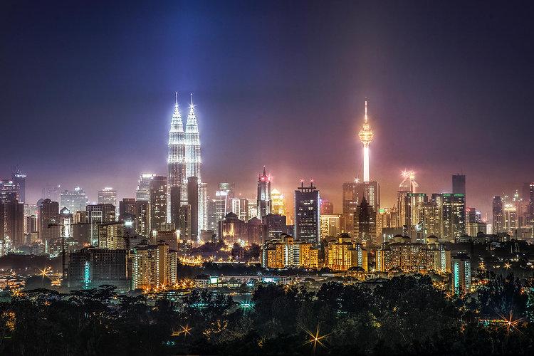 Kuala Lumpur aerial night shot