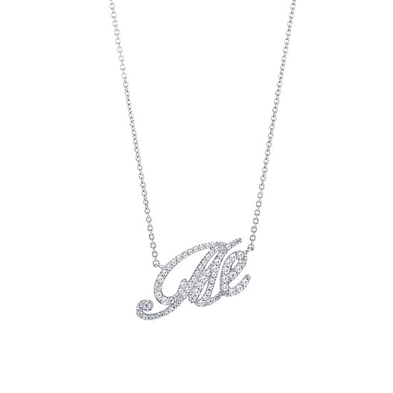 Groovy Font Me Silver Zirconia Necklace
