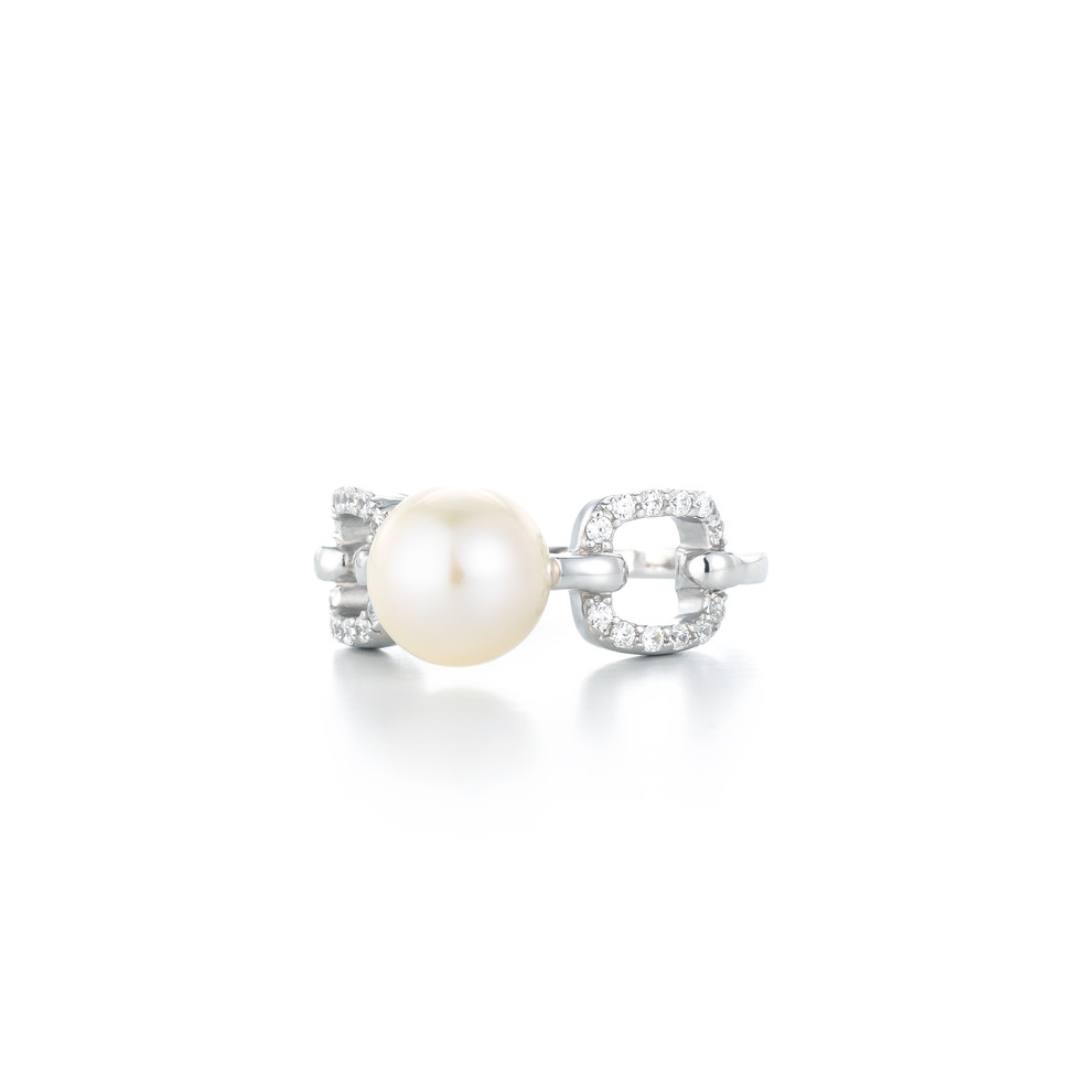 Graceful Square Pave Silver Freshwater Pearl Zirconia Ring