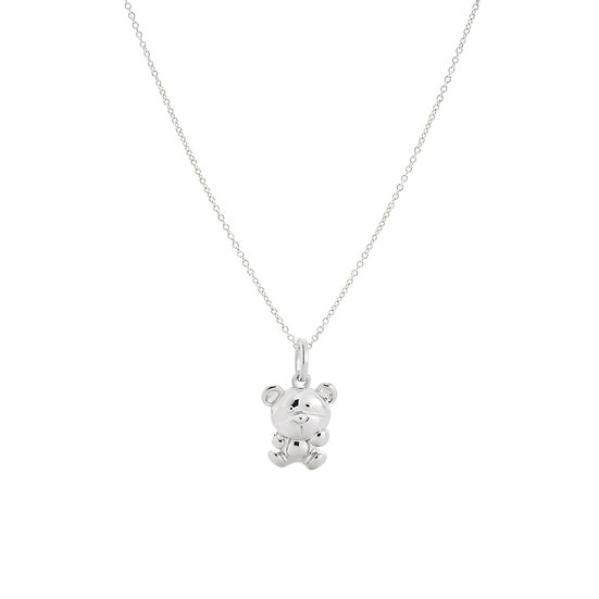 Beloved Teddy Standing Silver Necklace