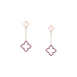 Hybrid Tea Rose Bud Curvy Silver Zirconia Linear Earrings