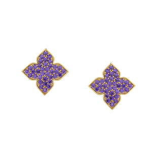 Hybrid Tea Rose Bud Pave Silver Zirconia Earrings Amethyst