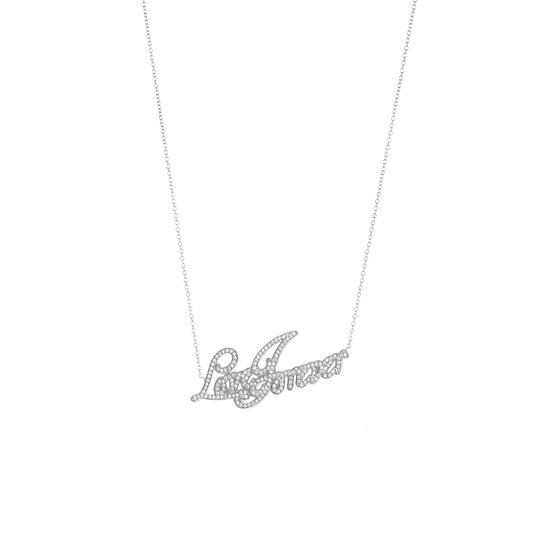 Groovy Font Love Forever Silver Zirconia Necklace