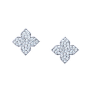 Hybrid Tea Rose Bud Pave Silver Zirconia Earrings