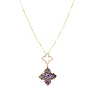 Hybrid Tea Rose Bud Pave Dangle Silver Zirconia Necklace White and Amethyst