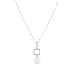 Graceful Square Pave Silver Freshwater Pearl Zirconia Dangle Necklace