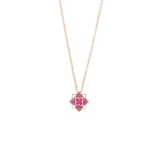 Hybrid Tea Rose Pave Silver Zirconia Necklace