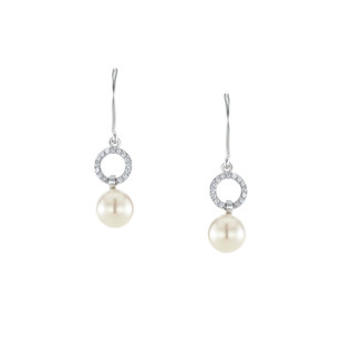 Graceful Round Pave Silver Freshwater Pearl Zirconia Dangle Linear Earrings