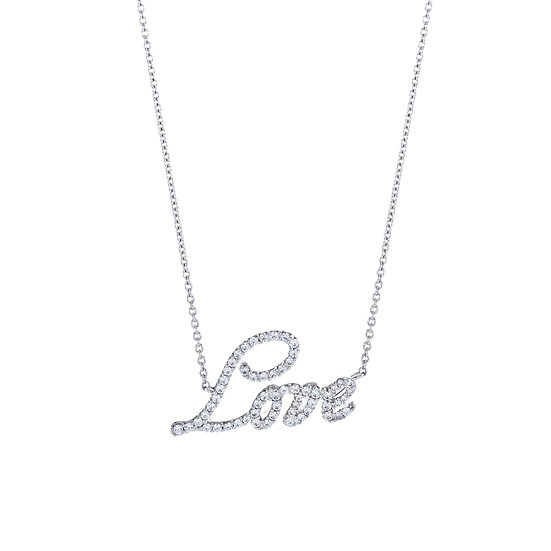 Groovy Font Love Silver Zirconia Necklace