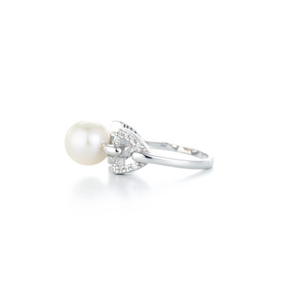 Graceful Triangle Pave Silver Freshwater Pearl Zirconia Ring