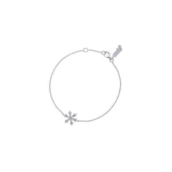 Snow Flake Silver Zirconia Line Bracelet