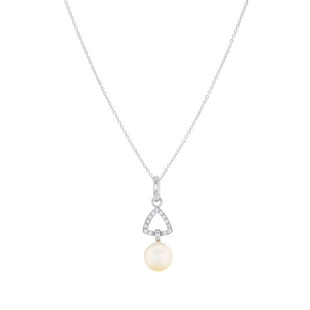 Graceful Triangle Pave Silver Freshwater Pearl Zirconia Dangle Necklace
