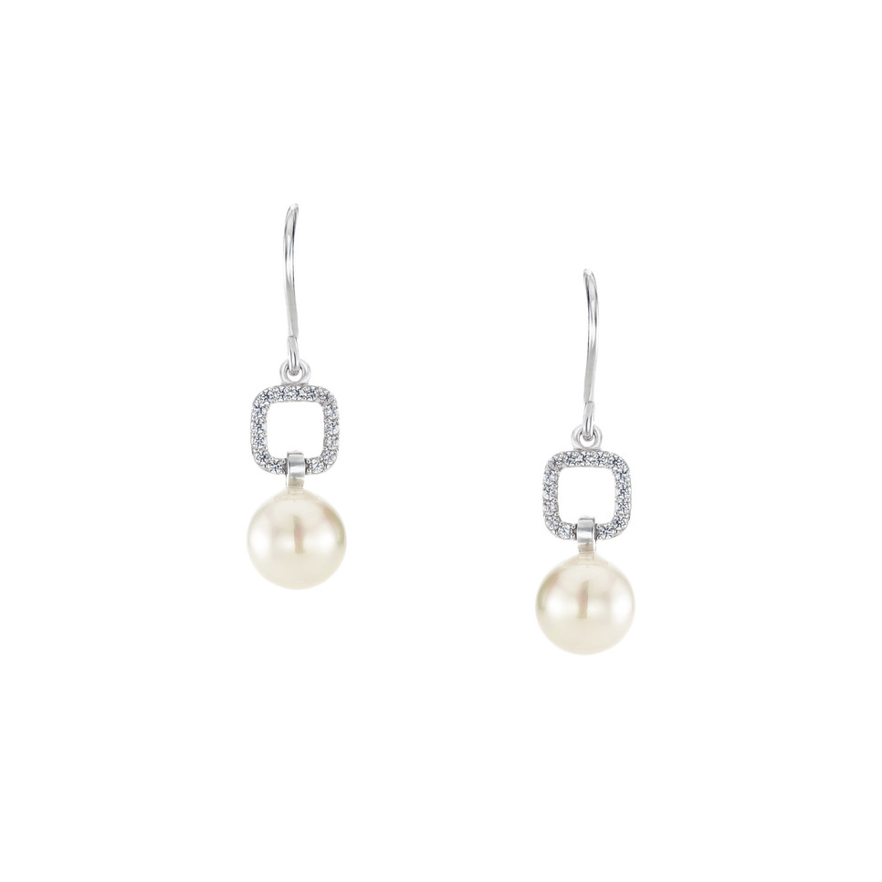 Graceful Square Pave Silver Freshwater Pearl Zirconia Dangle Linear Earrings