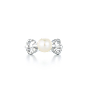 Graceful Round Pave Silver Freshwater Pearl Zirconia Ring