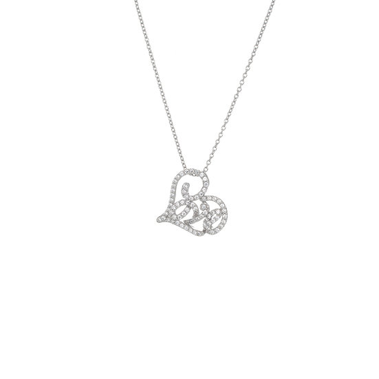 Groovy Font Small Heart Shape Love Silver Zirconia Necklace