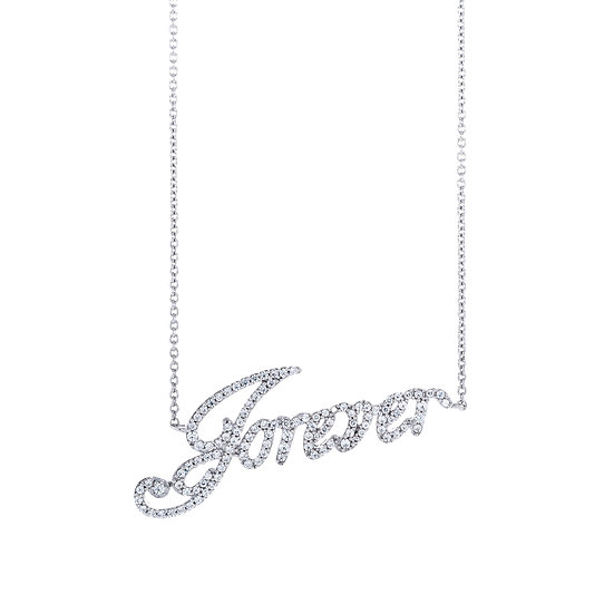 Groovy Font Forever Silver Zirconia Necklace