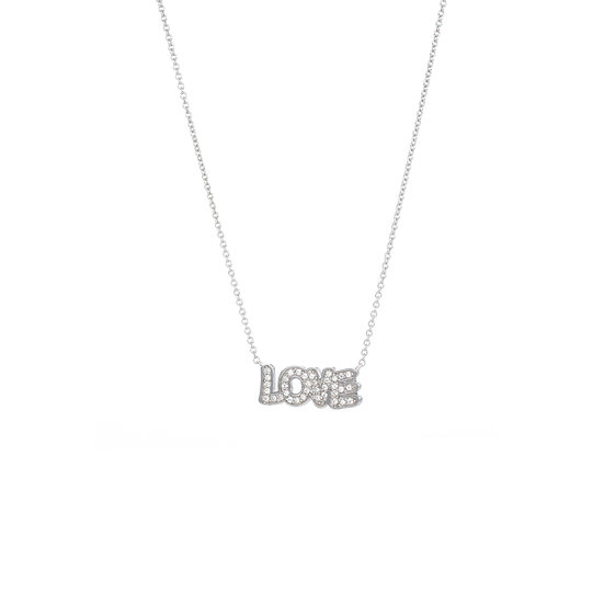 Comical Font Love Silver Zirconia Necklace