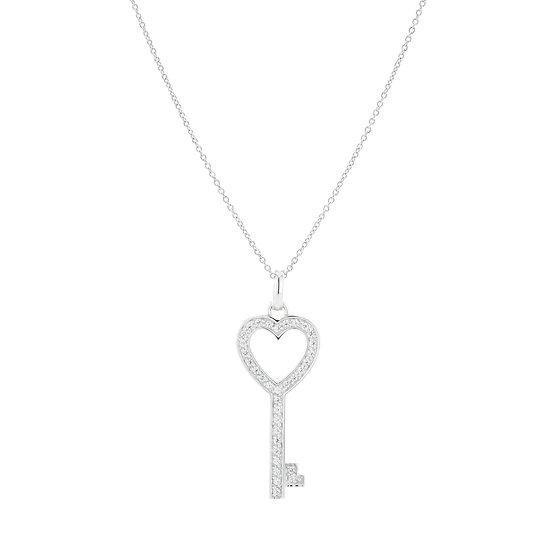 Treasure Hearted Key Silver Zirconia Necklace