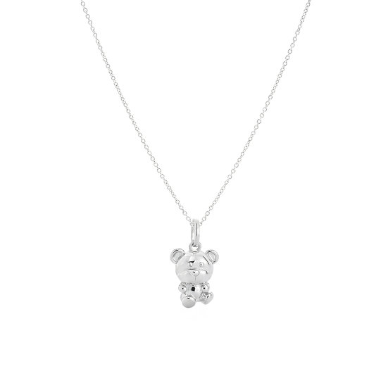 Beloved Teddy Be Seated Silver Necklace