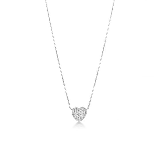 Rounded Pave Heart Silver Zirconia Necklace
